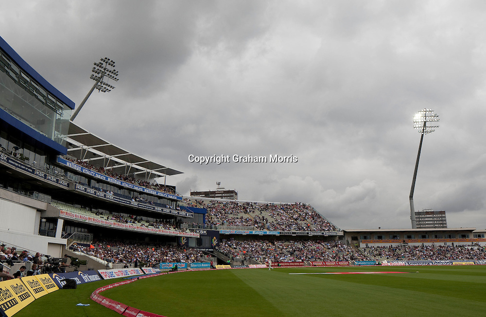 A power cut hits some lights but not others during the third npower Test Match between England and India at Edgbaston, Birmingham.  Photo: Graham Morris (Tel: +44(0)20 8969 4192 Email: sales@cricketpix.com) 12/08/11