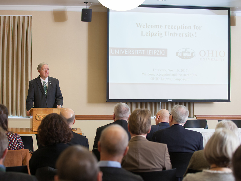 President M. Duane Nellis speaks at the Welcome Reception and Celebration of the 25th Anniversary of the partnership with Leipzig University in the Multicultural Center Multipurpose Room on Thursday Nov. 16, 2017.