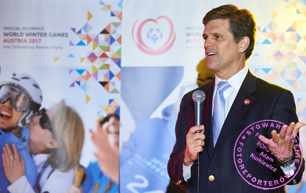 (L) Timothy Shriver speaks while Austria 2017 Reception during third day of the Special Olympics World Games Los Angeles 2015 on July 27, 2015 in Los Angeles, USA.<br /> USA, Los Angeles, July 27, 2015<br /> <br /> Picture also available in RAW (NEF) or TIFF format on special request.<br /> <br /> For editorial use only. Any commercial or promotional use requires permission.<br /> <br /> Adam Nurkiewicz declares that he has no rights to the image of people at the photographs of his authorship.<br /> <br /> Mandatory credit:<br /> Photo by &copy; Adam Nurkiewicz / Mediasport