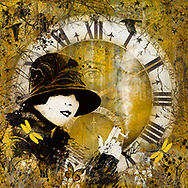 Sketch of a smoking 1920s  style woman in front of a clock with the sketch of a man's face in a whimsical warm yellow setting