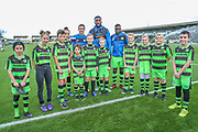 FGR Ambassadors with Forest Green Rovers Luke James(33) Forest Green Rovers Manny Monthe(6) and Forest Green Rovers Toni Gomes(25) during the EFL Sky Bet League 2 match between Forest Green Rovers and Morecambe at the New Lawn, Forest Green, United Kingdom on 28 October 2017. Photo by Shane Healey.