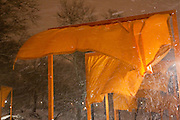 Central Park. New York, New York. United States..February 20th 2005..Art project The Gates by Christo and Jeanne Claude..7503 gates, 16,4 feet high, on 22 miles in Central park, $ 21 millions, 750 employees.