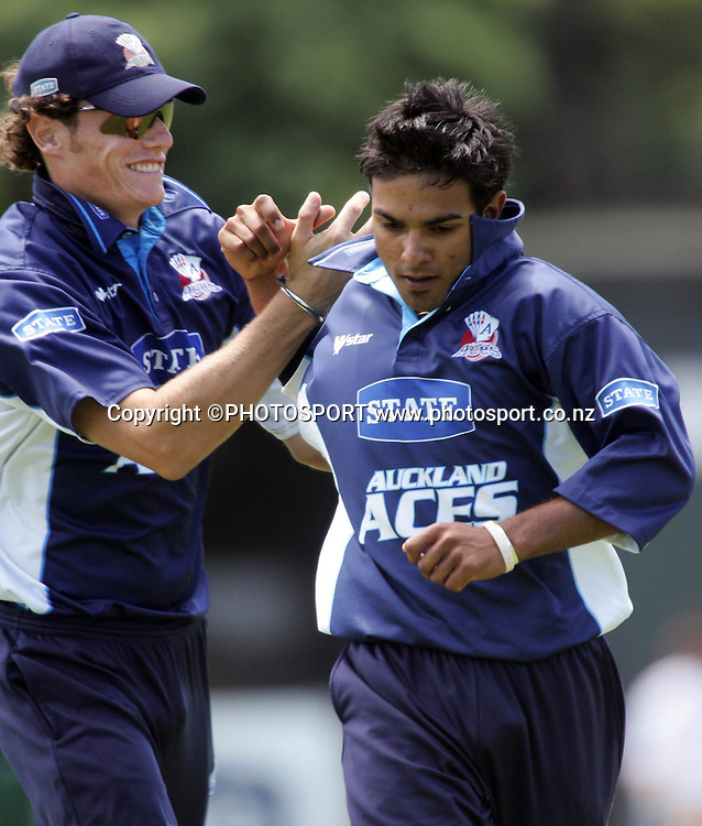 Auckland's Ronnie Hira celebrates taking a wicket during the State Shield cricket match between the Auckland Aces and Central Stags at Eden Park, Auckland, on Wednesday 31 January 2007. Photo: Renee McKay/PHOTOSPORT
