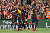 Barcelona´s Leo Messi celebrates a goal (3-0) during 2014-15 Copa del Rey final match between Barcelona and Athletic de Bilbao at Camp Nou stadium in Barcelona, Spain. May 30, 2015. (ALTERPHOTOS/Victor Blanco)