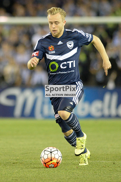"""Connor Pain of Melbourne Victory - Hyundai A-League - October 17th 2015 - ROUND 2- Melbourne Victory FC v Melbourne City FC in the first derby for the 2015 season with a 3:2 win to Victory on the 90"""" - © Mark Avellino 