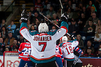 KELOWNA, CANADA - FEBRUARY 17: Lucas Johansen #7 of the Kelowna Rockets celebrates a second period goal against the Spokane Chiefs on February 17, 2017 at Prospera Place in Kelowna, British Columbia, Canada.  (Photo by Marissa Baecker/Shoot the Breeze)  *** Local Caption ***