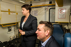 Pictured: Ruth Davidson and Mike Briggs.<br /> <br /> Scottish Conservative leader Ruth Davidson, MSP,  joined shadow health secretary Miles Briggs to launch the party&rsquo;s Health Advisory Board at the Scottish ASmbulance Service Southeast Divisional HQ.  Ms Davidson and Mr Briggs were shown the equipment in the average ambulance by Richard Paton, Ambulance Service manager and Callum Johnston, Specialist medic.<br /> <br /> Ger Harley | EEm 6 September 2017