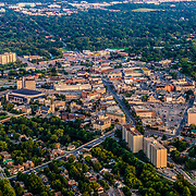 Downtown Guelph from an airplane.