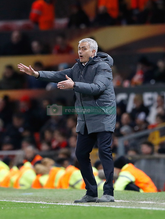 Manchester United manager Jose Mourinho gestures on the touchline during the UEFA Europa League, Quarter Final match at Old Trafford, Manchester.