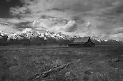 Black and white photo of the Moulton Barn in Mormon Row Grand Teton National Park