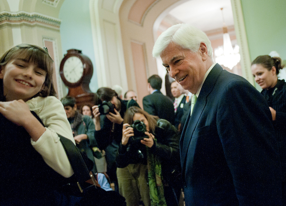 Nov 30, 2010 - Washington, District of Columbia, U.S. - Retiring Senator CHRIS DODD (D-CT) meets his family after delivering his final speech on the Senate floor thanking colleagues, supporters and friends. (Credit Image: © Pete Marovich/ZUMA Press)