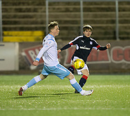 16 year old schoolboy Brian Rice got 45 minutes against Forfar, here he takes on Forfar's Jamie Cull  - Forfar Athletic v Dundee, Martyn Fotheringham testimonial at Station Park, Forfar.Photo: David Young<br /> <br />  - &copy; David Young - www.davidyoungphoto.co.uk - email: davidyoungphoto@gmail.com