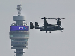 © Licensed to London News Pictures. 12/07/2018. London, UK. A Boeing V-22 Osprey, part of President Trump's aerial convoy, passes BT Tower as it comes into land at the Regent's Park home of the US Ambassador at the start of his visit to the UK.  Photo credit: Peter Macdiarmid/LNP
