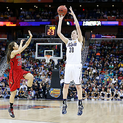 Apr 9, 2013; New Orleans, LA, USA; Connecticut Huskies forward Breanna Stewart (30) shoots against Louisville Cardinals guard Jude Schimmel (22) during the first half of the championship game in the 2013 NCAA womens Final Four at the New Orleans Arena. Mandatory Credit: Derick E. Hingle-USA TODAY Sports