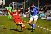 Luke Norris (33) of Swindon Town slides in to block the clearance of Mike Green (3) of Eastleigh during the The FA Cup match between Eastleigh and Swindon Town at Arena Stadium, Eastleigh, United Kingdom on 4 November 2016. Photo by Graham Hunt.