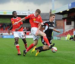 Bristol City's Joe Bryan falls under a challenge from Crewe Alexandra's Matt Tootle - Photo mandatory by-line: Dougie Allward/JMP - Tel: Mobile: 07966 386802 19/10/2013 - SPORT - FOOTBALL - Alexandra Stadium - Crewe - Crewe V Bristol City - Sky Bet League One