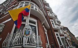 © Licensed to London News Pictures. 15/08/2012. The Ecuadorian embassy in London where Julian Assange is currently residing on August 15, 2012 in an attempt to gain political asylum in Equador in order to avoid  extradition to Sweeden where he is due to face charges of rape. Ecuador's president Rafael Correa is expected to make a decision on the asylum of Julian Assange this week.  Photo credit : Ben Cawthra/LNP