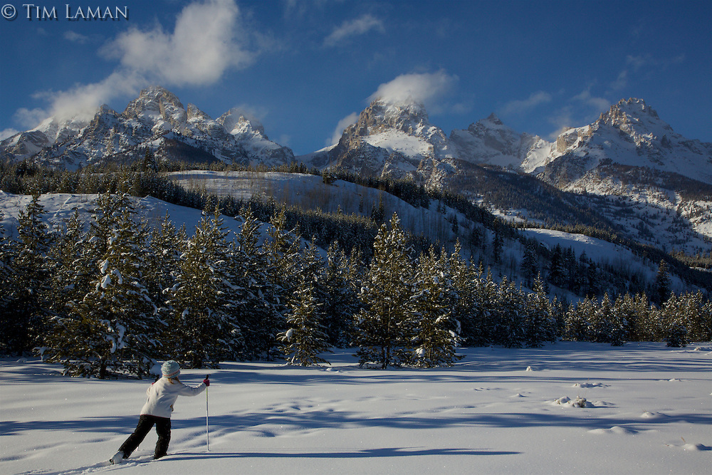 Jessica Laman (age 9)  cross-country skiing below the Teton Range.<br />