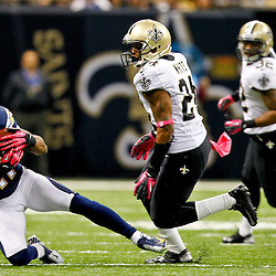 October 7, 2012; New Orleans, LA, USA; San Diego Chargers wide receiver Eddie Royal (11) catches a pass in front of New Orleans Saints cornerback Corey White (24) during the second quarter of a game at the Mercedes-Benz Superdome. Mandatory Credit: Derick E. Hingle-US PRESSWIRE