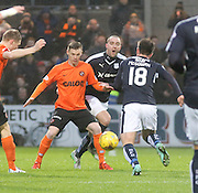 Dundee&rsquo;s James McPake and Dundee United&rsquo;s Billy McKay - Dundee v Dundee United, Ladbrokes Premiership at Dens Park<br /> <br />  - &copy; David Young - www.davidyoungphoto.co.uk - email: davidyoungphoto@gmail.com