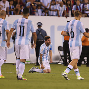 EAST RUTHERFORD, NEW JERSEY - JUNE 26:  Lionel Messi, #10 of Argentina distraught on the half way line after missing a penalty in the penalty shoot out during the Argentina Vs Chile Final match of the Copa America Centenario USA 2016 Tournament at MetLife Stadium on June 26, 2016 in East Rutherford, New Jersey. (Photo by Tim Clayton/Corbis via Getty Images)