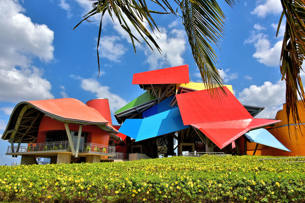 Colorful Fa&ccedil;ade of Biomuseo in Panama City, Panama <br />