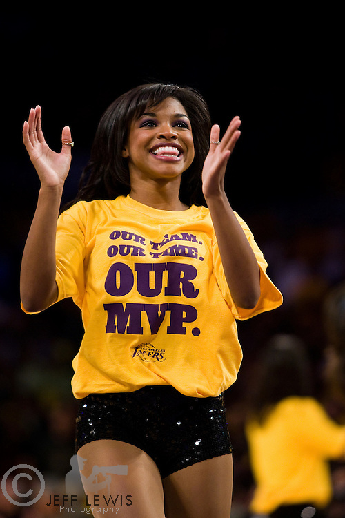 07 May 2008: Los Angeles Laker Girl Angel D'Cole wears a Kobe MVP t-shirt while cheering during the Los Angeles Lakers 120-110 victory over the Utah Jazz in game 2 of NBA Western Conference Semifinals at the STAPLES Center in Los Angeles, CA.