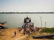 26 FEBRUARY 2015 - PHNOM PENH, CAMBODIA: A ferry that crosses the Mekong River from Koh Dach (Silk Island) in the outskirts of Phnom Penh.    PHOTO BY JACK KURTZ