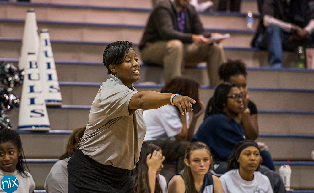 Hickory Ridge head coach Tolonda Simmons during a game against Central Cabarrus Thursday night at Hickory Ridge High School in Harrisburg. Hickory Ridge won the game 68-30.