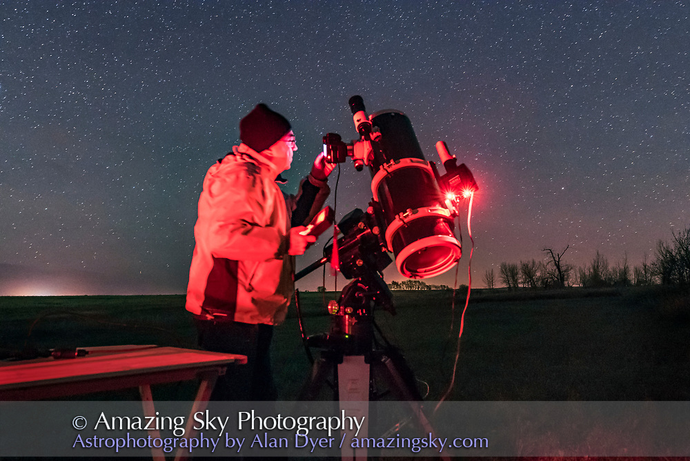 Me using the Sky-Watcher Quattro astrographic Newtonian reflector to shoot deep-sky targets, from home Oct 14, 2015. I'm demonstrating that with the Newtonian the camera can be at convenient eye height for seeing the fixed viewscreen and looking thru the optical vewfinder.