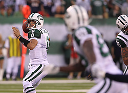 Sept 19, 2011; East Rutherford, NJ, USA; New York Jets quarterback Mark Sanchez (6) throws a pass during the 2nd half at the New Meadowlands Stadium.  The Jets defeated the Patriots 28-14.