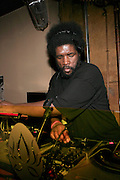 "Questlove at The Roots Album realease party for ""Roots Down"" at Sutra on April 29, 2008"".. The Legendary Roots Crew, the influential, Grammy Award-winning American band from Philadelphia, Pennsylvania, famed for a heavily jazzy sound and live instrumentation, have made 10 Albums to date."