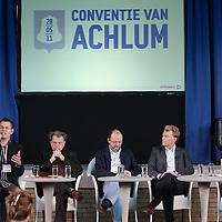 Nederland, Achlum , 28 mei 2011..Conventie van Achlum..Achmea bestaat dit jaar 200 jaar. In dit jubileumjaar gaat Achmea terug naar haar roots: het Friese dorpje Achlum. Op 28 mei vindt daar de Conventie van Achlum plaats. Zo'n 2000 mensen gaan daar met elkaar in gesprek over de toekomst van Nederland binnen de thema's: veiligheid, mobiliteit, arbeidsparticipatie, pensioen en gezondheid. Dit doen we met top sprekers uit de politiek en wetenschap maar ook met mensen zoals jij..Op de foto v.l.n.r. opiniepijler Hans Anker Bas Heijne, Paul Schnabel en Willem van Duin bestuursvoorziter Achmea.Foto:Jean-Pierre Jans