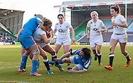 Kay Wilson scores a try, England Women v Italy Women in Women's 6 Nations Match at Twickenham Stoop, Twickenham, England, on 15th February 2015. Final score 39-7.