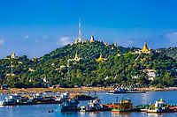 Sagaing hills  and the Ayarwaddy River  skyline  Myanmar (Burma)