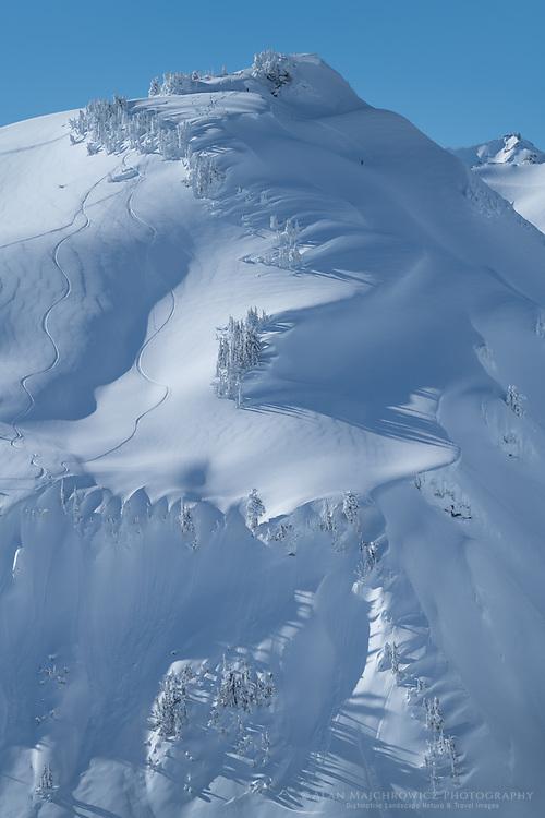 Backcountry skiing Mount Baker Wilderness. North Cascades Washington