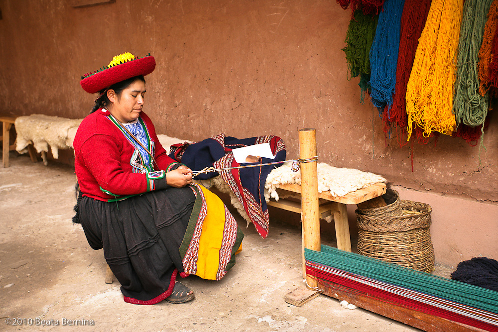 Traditional weaver in Chinchero, Peru.
