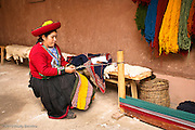 Traditional weaver in Chinchero, Peru.