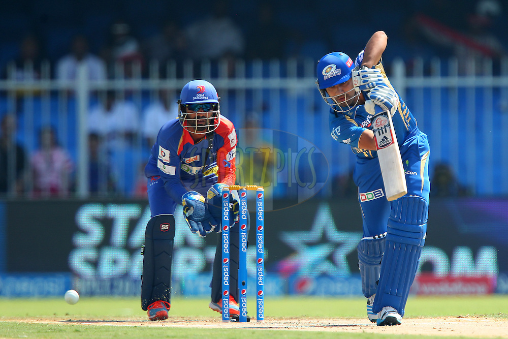 Rohit Sharma captain of of the Mumbai Indians during match 16 of the Pepsi Indian Premier League 2014 between the Delhi Daredevils and the Mumbai Indians held at the Sharjah Cricket Stadium, Sharjah, United Arab Emirates on the 27th April 2014<br /> <br /> Photo by Ron Gaunt / IPL / SPORTZPICS