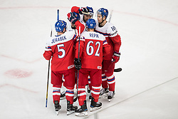 Players of Czech Republic celebrate after scoring third goal during the 2017 IIHF Men's World Championship group B Ice hockey match between National Teams of Czech Republic and Slovenia, on May 12, 2017 in AccorHotels Arena in Paris, France. Photo by Vid Ponikvar / Sportida