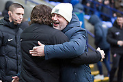 Bolton Wanderers manager Keith Hill and Wycombe Wanderers manager Gareth Ainsworth  shaking ands before  the EFL Sky Bet League 1 match between Bolton Wanderers and Wycombe Wanderers at the University of  Bolton Stadium, Bolton, England on 15 February 2020.