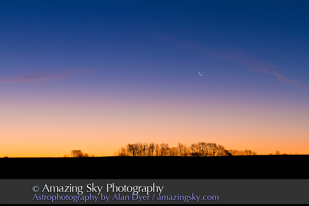 Waning crescent Moon at dawn from home, Nov. 4, 2010. Taken with Sigma 50mm lens and Canon 7D.