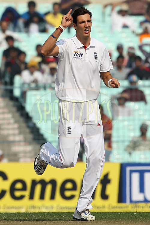 Steven Finn of England reacts after bowling during day one of the 3rd Airtel Test Match between India and England held at Eden Gardens in Kolkata on the 5th December 2012..Photo by Ron Gaunt/BCCI/SPORTZPICS ..Use of this image is subject to the terms and conditions as outlined by the BCCI. These terms can be found by following this link:..http://www.sportzpics.co.za/image/I0000SoRagM2cIEc