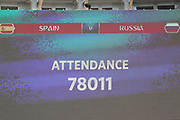 MOSCOW, MOSKAU, , MO - 01.07.2018: SPAIN VS RUSSIA - Public during the match between Spain and Russia, valid for the eighth round of the 2018 World Cup held at the Luzhniki Stadium in Moscow, Russia.fee liable image, copyright © ATP Ricardo MOREIRA / Fotoarena<br /> restriction applies, no sale to South America, NO BRAZIL, NO ARGENTINA, NO MEXICO <br /> <br /> SPANIEN : RUSSLAND 1:1  - FIFA Fussball-WM in Russland,
