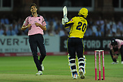 Fidel Edwards of Hampshire defends a Steven Finn hat-trick ball during the Vitality T20 Blast South Group match between Middlesex County Cricket Club and Hampshire County Cricket Club at Lord's Cricket Ground, St John's Wood, United Kingdom on 26 July 2018. Picture by Dave Vokes.
