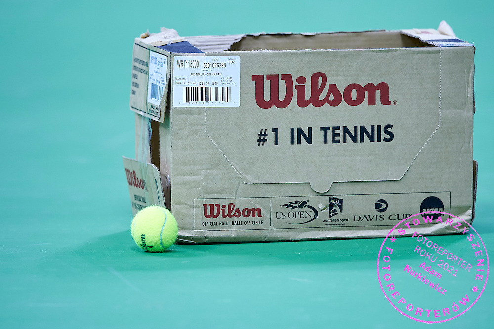 Official Wilson balls during official training session two days before the Fed Cup / World Group 1st round tennis match between Poland and Russia at Krakow Arena on February 5, 2015 in Cracow, Poland.<br /> <br /> Poland, Cracow, February 5, 2015<br /> <br /> Picture also available in RAW (NEF) or TIFF format on special request.<br /> <br /> For editorial use only. Any commercial or promotional use requires permission.<br /> <br /> Adam Nurkiewicz declares that he has no rights to the image of people at the photographs of his authorship.<br /> <br /> Mandatory credit:<br /> Photo by &copy; Adam Nurkiewicz / Mediasport