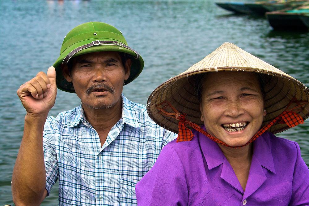 Rowing in Hoang Long River, Tam Coc (Ninh Binh Province), Hanoi, Vietnam.