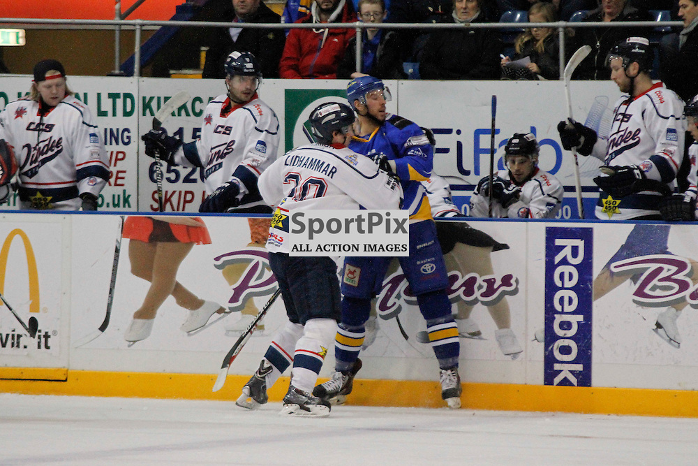 Fife Flyers V Dundee Stars, Elite Ice Hockey League, 5 December 2015Fife Flyers V Dundee Stars, Elite Ice Hockey League, 5 December 2015<br /> <br /> FIFE FLYERS #7 PHILIPPE PAQUET AND DUNDEE STARS #20 MIKAEL LIDHAMMAR HIT HARD ON THE BOARDS