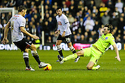 Brighton's Dale Stephens goes in to tackle Derby County's Chris Martin during the Sky Bet Championship match between Derby County and Brighton and Hove Albion at the iPro Stadium, Derby, England on 12 December 2015. Photo by Shane Healey.