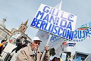 2013/03/23 Roma, manifestazione del PDL Popolo della Liberta'. Nella foto un manifestante.<br /> Rome, Popolo della Liberta' (reading The Peolple of Freedom Party) demo. In the picture a supporter holds a note reading ' Hands off by Berlusconi '  - &copy; PIERPAOLO SCAVUZZO